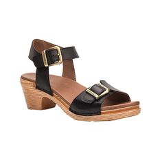 Women's Dansko Matty Sandal ($135) ❤ liked on Polyvore featuring shoes, sandals, black, casual, heels, black leather sandals, leather heeled sandals, double strap sandals, leather sandals and mid-heel sandals