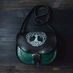 Celtic leather bag Three of Life Scandinavian  #celtic #leather #leatherbag #crossbody #treeoflife #casualbag  #mythology #bag