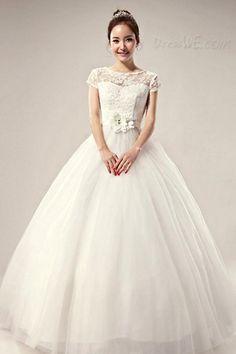 壮大なボールドレスフロア長スクープレースのウェディングドレス 10522700 - レース ウェディングドレス - Dresswe.Com