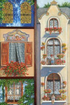 Artist... Füsun Ürkün House Landscape, Scrapbook Designs, Decoupage Paper, Country Art, Pictures To Paint, Home Art, Illustration Art, Little Houses, Windows