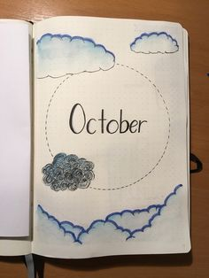 Bullet Journal - monthly front page - cloud theme - blue - October - bujo