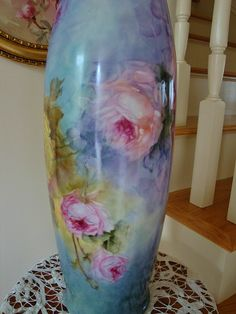 "Incredible Antique Limoges France HUGE Floor Vase 22"" tall with Roses from theverybest on Ruby Lane"