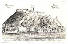 Die Altstadt und der Schlossberg, Graz, um 1830, Zeichnung und Lith. von Kuwasseg