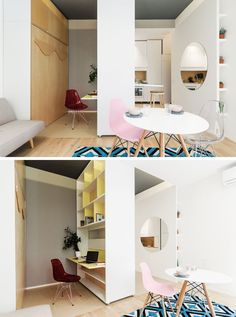 Next to the living room in this micro apartment is a movable wall. When it is positioned in the center, it can have a down desk on one side, and a fold down table on the other. On the desk side, there's open shelving for extra storage. Small Space Living, Tiny Living, Small Rooms, Small Spaces, Living Room, Fold Down Table, Small Couch, Movable Walls, Folding Walls