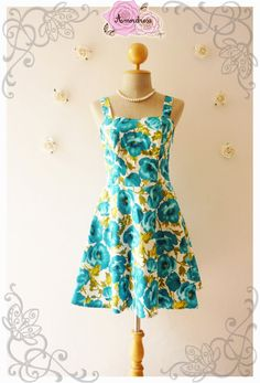 Blue Floral Dress Swing Dress Mini Dress Summer Dress by Amordress, $42.00