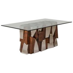 Superb Paul Evans Faceted Dining Table Base, circa 1970 | From a unique collection of antique and modern dining room tables at https://www.1stdibs.com/furniture/tables/dining-room-tables/