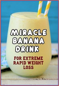 Miracle Banana Drink For Extreme Rapid Weight Loss Weight Loss Detox, Weight Loss Drinks, Weight Loss Smoothies, Banana Drinks, Natural Detox Drinks, Healthy Detox, Healthy Drinks, Healthy Juices, Healthy Recipes