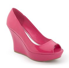 Patent Peep Toe Pump by Dots in Beetroot Purple $24.80