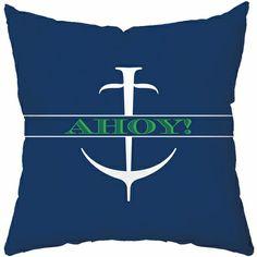 Ahoy Throw Pillow #anchor #ship #nursery