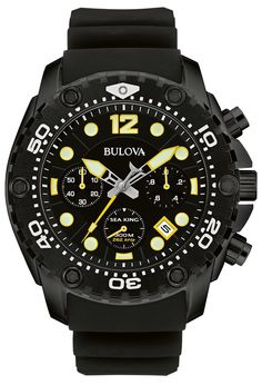 8e83956a54e Bulova Men S Sea King Uhf Chronograph Black Dial Watch With Silicone Band