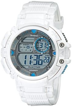 Armitron Sport Men's 40/8346WHT Blue-Accented Digital Chronograph White Resin Strap Watch