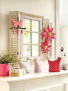 Spiegelfenster Stoff-Hühner (3 Stck.) Set: Blütenänger (2 Stck.) Hänger Schmetterling — bei heine.de
