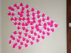 """Another pinned said: """"150 reasons I love my boyfriend. Used heart shaped stickies. I surprised him with this on Valentines Day along with a bunch of balloons."""" So cute."""