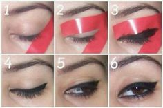 diy makeup get the purrfect cat eye! I never wear eyeliner cause I cant do it properly and I fool it up sooo bad...so this is AMAZING!