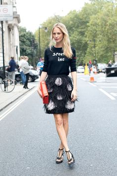 Poppy Delevingne's festive skirt + sweater