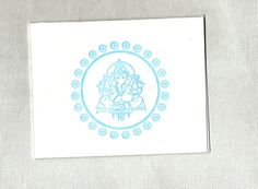 Blue Ganesh Mandala letterpressed note cards
