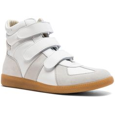 Maison Margiela Calfskin Velcro High Tops ($800) ❤ liked on Polyvore featuring men's fashion, men's shoes, men's sneakers, sneakers, mens velcro high top sneakers, mens velcro strap shoes, mens velcro shoes, maison margiela men's sneakers and mens velcro sneakers