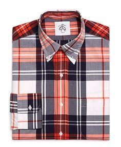 Men's Black Fleece Plaid Oxford Button-Down Shirt