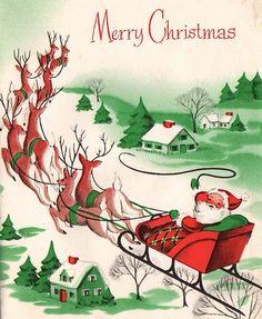 A charming, classic vintage Santa and reindeer themed Christmas card. #vintage #Christmas #cards