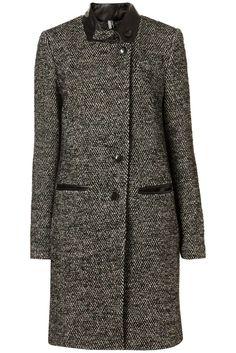 Topshop boucle coat with black details