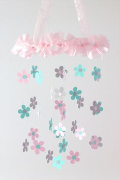 Daisy Flower Nursery Mobile in Pink Gray & por LoveBugLullabies