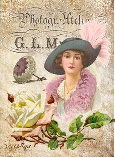 ♥ vintage lady with Blue hat and purple stoll