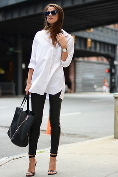 oversized white button down, skinny jeans & heeled sandals #style #fashion
