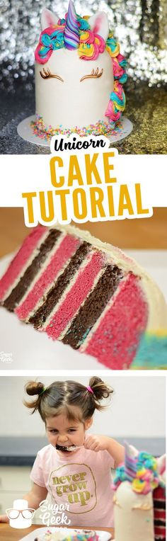 This unicorn style cake is a HOT TREND right now and we love it! Complete with Rainbow Buttercream Hair, a Swirly Chocolate Horn and Rainbow Sprinkles you won't want to miss this FREE tutorial! Visit the following link to watch the tutorial on our site!  https://sugargeekshow.com/course-preview/unicorn-cake-preview/