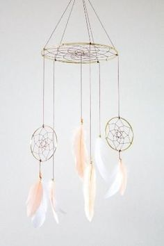 Dreamcatcher Mobile - Peach and White Boho Bohemian Baby Tribal Crib Nursery Baby Feathers Baby Boy Girl by gay