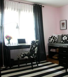 Jessica Quirk Studio, Pink Walls, Black and White Decor, Sewing Room