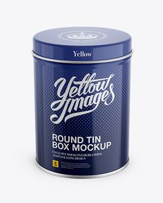 High Round Tin Box Mockup - Up Front View (High-Angle Shot). Preview