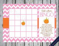 Very cute and cheap game idea Jordan Baby Shower, Baby Shower Bingo, Baby Shower Fall, Fall Baby, Baby Shower Printables, Baby Shower Invitations, Girl Shower, Little Pumpkin Shower, Bingo Party