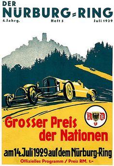 1929 German Grand Prix Auto Race - Nürburgring - Program Cover Poster