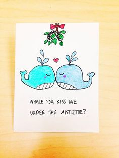 44 funny diy christmas cards for holiday joy funny stuff funny christmas card for boyfriend kiss me under the mistletoe girlfriend christmas card christmas pun card whale cartoon xmas card by lovencreativity solutioingenieria Images
