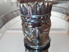 Vintage Carnival Glass Indian Head - Native American Glass, Figural Toothpick Holder, Iridescent Glass by Duckwells on Etsy