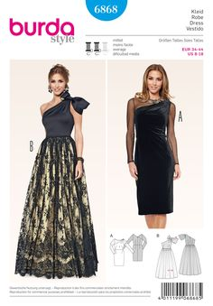 Description: burda style evening & bridal wear B: Unobtrusive and elegant. Transparency and opaque black are nicely brought together. Sumptuous evening gown A with one-shoulder bodice and decorative bow. Wedding Dress Sewing Patterns, Burda Sewing Patterns, Dress Making Patterns, Black Lace Skirt, Sophisticated Dress, Creation Couture, Pattern Fashion, Bridal Dresses, Strapless Dress Formal
