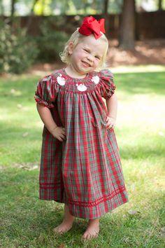 Pre Sale Southern Tots Christmas Plaid Smocked Santa Bishop Dress (October)