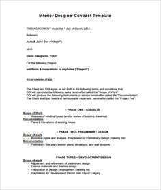 Interior Design Contract Agreement Template With Sample Interior Decorating Pinterest