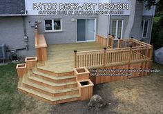 Spaces Decks Design, Pictures, Remodel, Decor and Ideas - page 49 - love the built in planters. I'd still want a lower level for the deck opening to a stone patio Patio Deck Designs, Patio Design, Back Deck Designs, Outside Living, Outdoor Living, Indoor Outdoor, Outdoor Decor, Deck Stairs, Diy Deck