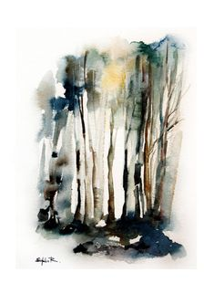 Large Fine Art Print of Original Watercolor Painting Abstract Nature Forest Landscape 12.5x19''