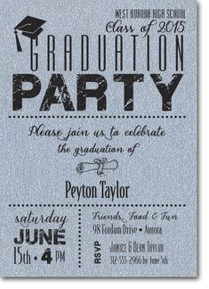 Graduation Party Invitations printed on Shimmery Paper and Matching Envelopes