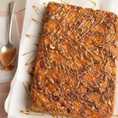 Looking for an irresistible fall dessert? Try this Upside-Down Apricot-Caramel Crunch Cake! More fall desserts: http://www.bhg.com/recipes/seasonal/fall-spiced-desserts/?socsrc=bhgpin091613upsidedowncaramelcake#page=33