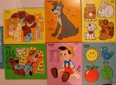 Vintage Lot 7 Playskool Wooden Puzzles Disney Wood Nursery Rhymes $34.99