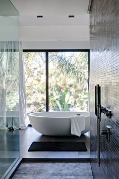 Commercial fixed lites as picture windows in this beautiful bathroom home: bathroom Interior And Exterior, Interior Design, Modern Interior, Boffi, Beautiful Bathrooms, Dream Bathrooms, White Bathrooms, Contemporary Bathrooms, Home Decor Styles