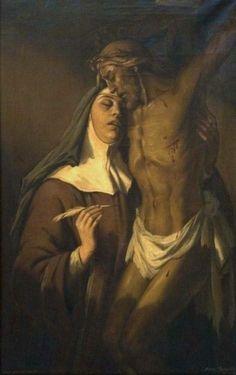 St Teresa of Avila in ectasy by Daniel Sabater Saint Teresa Of Avila, Sainte Therese, D Avila, Saint Quotes, Catholic Saints, Faith Hope Love, Spirituality, Statue, Painting