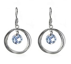$3.18  925 Sterling Silver 35mm Hook Round Crystal Dangle Charming Earring