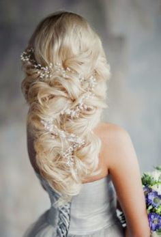 White Vine Hairpiece Twisted Braid Wedding Hairstyle