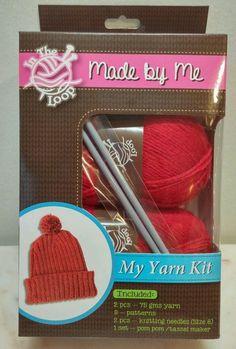 Ribbed Hat Yarn Kit 3 knitting patterns needles tassel maker Red New in box #FutureSales