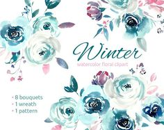 Blue Winter Watercolor Floral Clipart Bouquets of Roses