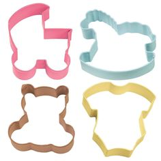 Set includes baby buggy, rocking horse, romper and teddy bear cookie cutters. Great for baby showers!